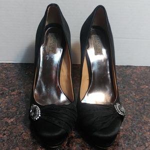 Badgely Mischka Black Satin Stilettos Size 9M